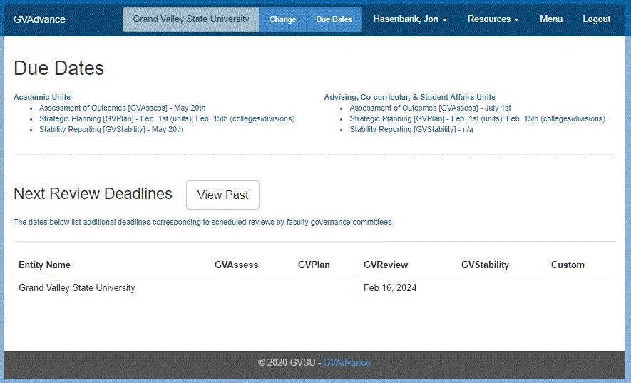 Screen clip of the Due Dates page within the GVAdvance assessment platform